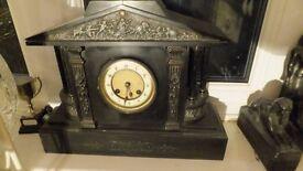 Marble /Slate Clock. Black, Very Heavy.