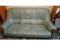 Green real leather 3 piece suite