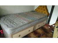 Single bed storage drawers, mattress and headboard