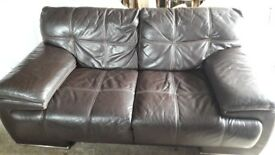 Chocolate brown leather large 2 seater sofa