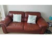 Leather sofas in Chestnut Brown. Three seater and two seater.