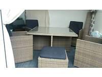 Rattan cube patio set