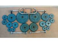 55kg of Body Sculpture metal weight plates and bars