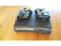 XBOX 360 elite 120gb console and 2 controllers / leads