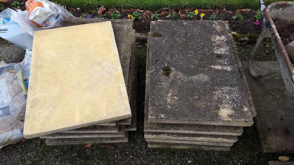 Concrete Paving Slabs - Yellow. 44cm x 67cm. 18 slabs in total.