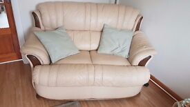 2 seater cream leather sofa, £75 ono, excellent condition