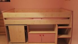 Girls cabin bed with pull out desk