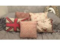 5 cushion set England floral and rose