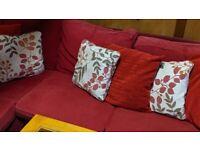 IKEA 5 seats corner sofa red +2 washable cover