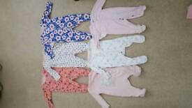 0-3m girls babygrows VGC