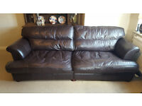 2 x Brown leather sofas (2-seater and 3-seater) . Will sell individual sofas seperately.