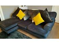 Next left corner chaise sofa,grey antique velvet with large storage footstool
