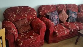 Sofas (FREE!)- 1 triple, 2 single. red, material very good condition
