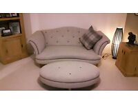 DFS Fabric 2 Seater & Cuddler Sofa & Footstool