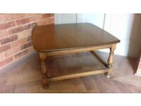 STILL AVAILABLE - Ercol large square coffee table in golden dawn colour.