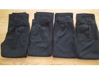 4 x Pairs Black Boys School Trousers Aged 7-8 Years