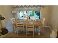 Gorgeous Shabby Chic Table and six chair set - Bespoke