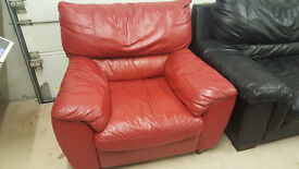 Red Real Leather chair Natuzzi