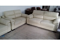 GRADED Cream Leather 2 +3 Seater Sofa Suite FREE LOCAL DELIERY