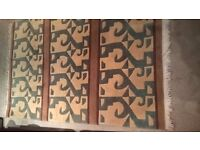 Nepalese Rug - Coffee, Cream, Soft turquoise - Geometric design - Great condition