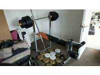 V fit weight bar gym bench and weights