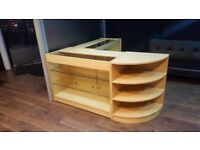 DISPLAY COUNTERS FULL SET OF 3 UNITS,CURVED CABINET, LOTS SHELVES