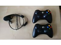 Two Xbox 360 Controllers (w/ Headset)