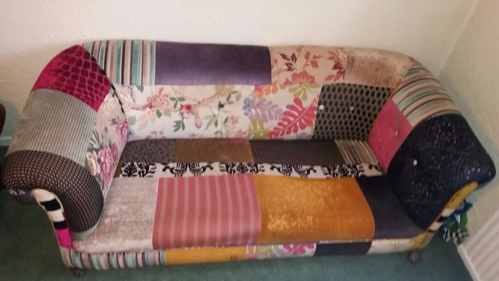 Vintage Antique Chesterfield 2 Seater Settee - Patchwork Design- Beautiful Unique One Off Edition !