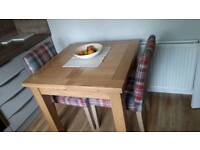 Solid Oak Extendable Dining Table with Two Tartan style chairs
