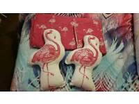 Flamingo double duvet set & cushions