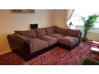 Brown deep 5 seats corner sofa