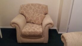 Excellent condition 3 seater sofa and 1 easy chair in beige