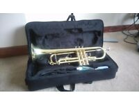 EXCELL TRUMPET, CASE, TRUMPET OIL AND MUSIC STAND