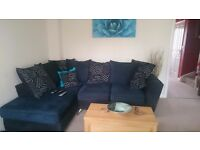 3 seater sofa with lounger (right side) + double seated swivel chair and foot stool.