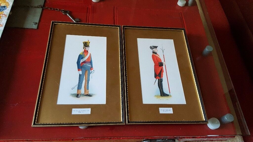 antique military watercolour paintings, matching pair