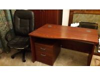 Large Mahogany effect curved corner panel end office desk with drawers and chair