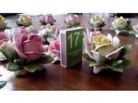 26 Porcelain Roses Flowers Ornaments Figurines Table Art Deco Wedding Party Handmade Capodimonte