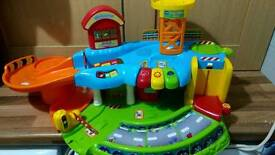 Vtech toot toot garage, airport, car carry case, extra track