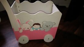 wooden childrens trolley on wheels