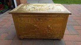 Vintage Brass Log Kindling Box