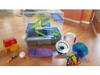 Pet hamster cage with accessories