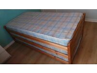 3 Single Pine Stacking Beds With Mattresses - Space Saver / Storage Beds