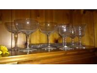 Pottery and vintage glasses including Denby Arabesque, champagne saucers, tea cups and saucers