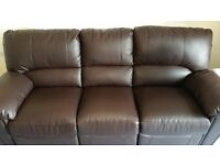 3-Seater Settee_Simulated Leather_2x Footrests (see photos)_6ft 4ins x 4ft_Seat Ht 17 ins_Almost New