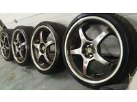 "KEI racing 18"" 4x100 4x108 rota style alloy wheels + tyres Citreon vauxhall ford toyota honda jap"