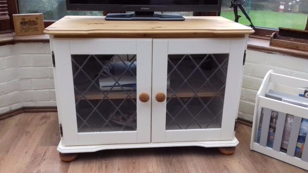 Upcycled shabby chic pine tv unit/cabinet