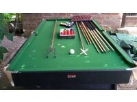 6x3 BCE SNOOKER TABLE / POOL TABLE WITH SNOOKER & POOL BALLS, 7 CUES, CUE HOLDER, RESTS, ETC