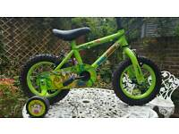 "Kids Bike 12"" Marvin the Monkey Green with spiderman helmet-good condition"