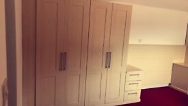 Beautiful 3 wardrobes and 2 bedside drawers