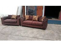 BUY 3 SEATER HAND MADE SOFA FOR £325 AND GET THE 2 SEATER FREE !!! IN BROWN GOLD SWIRL FABRIC